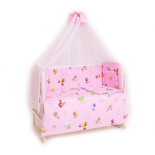 Набор в кроватку 7 предметов с оборками Бусинка фото 1