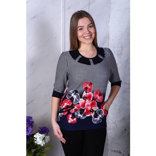 Блузка круглая кокетка красные орхидеи В5 р 50 фото 1