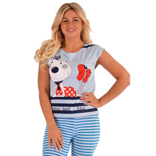 Домашний костюм К 80 кошка + голубая полоса р 52 фото 1