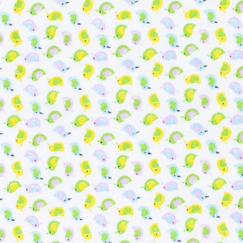 Ткань на отрез фланель 90 см 95031 Птички цвет желтый фото 1