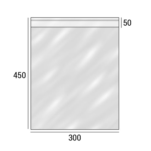 Полипропиленовый упаковочный пакет с клеевым клапаном 50 мкр 300х450+50 мм фото 2