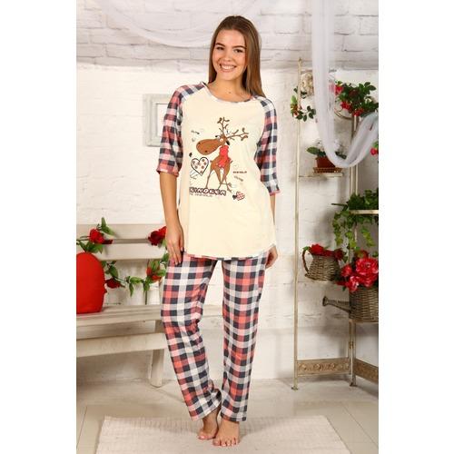 Пижама Северный Олень Серо-Персиковая Клетка Б22 р 42 фото 1