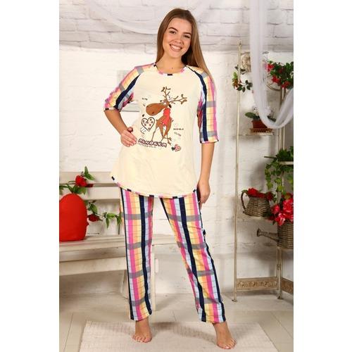 Пижама Северный Олень Розово Желтая Клетка Б22 р 52 фото 1