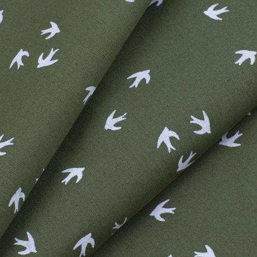 Отрез 150х150 Перкаль 150 см 306/5 Птички цвет олива фото 3