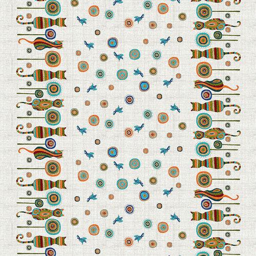Ткань на отрез рогожка 150 см 21089/1 Коты фото 1
