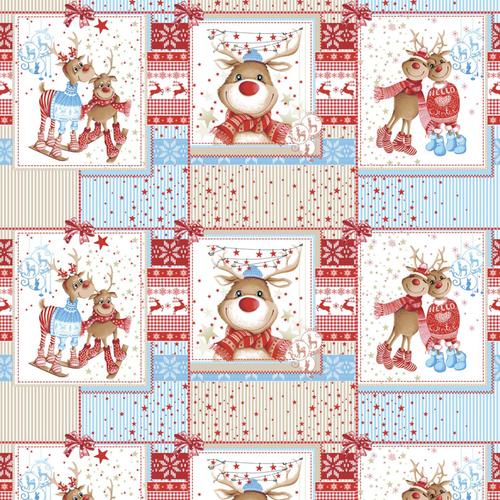 Ткань на отрез вафельное полотно набивное 150 см 207251В Помощники Санты цвет красный фото 1