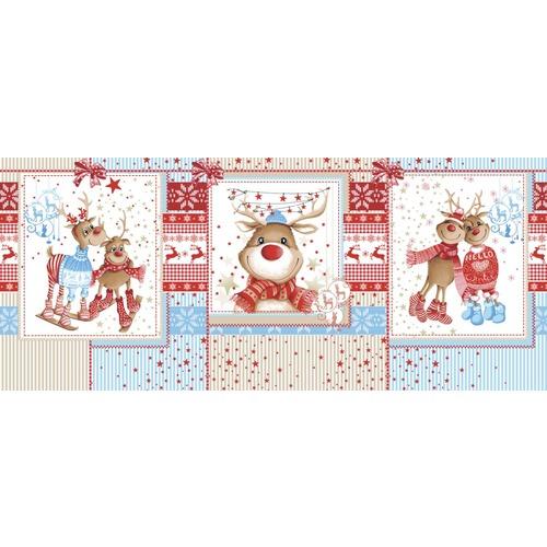 Ткань на отрез вафельное полотно набивное 150 см 207251В Помощники Санты цвет красный фото 2