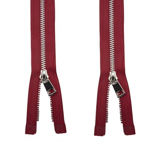 Молния металл №5ТТ никель два замка 75см D171 красный фото 1