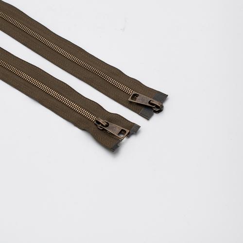 Молния металл №5СТ антик два замка 95см D565 хаки фото 1