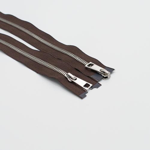 Молния металл №5СТ никель два замка 100см D570 коричневый фото 1