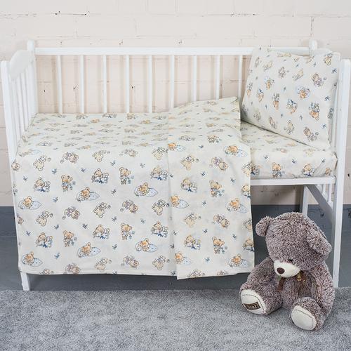 Постельное белье в детскую кроватку из поплина 1841/1 с простыней на резинке фото 2