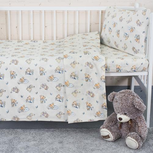 Постельное белье в детскую кроватку из поплина 1841/1 с простыней на резинке фото 1