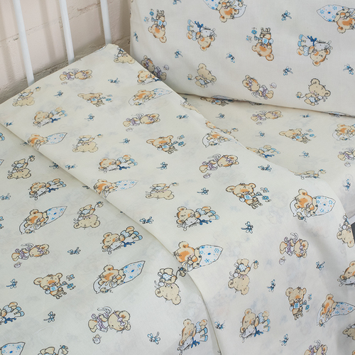 Постельное белье в детскую кроватку из поплина 1841/1 с простыней на резинке фото 3