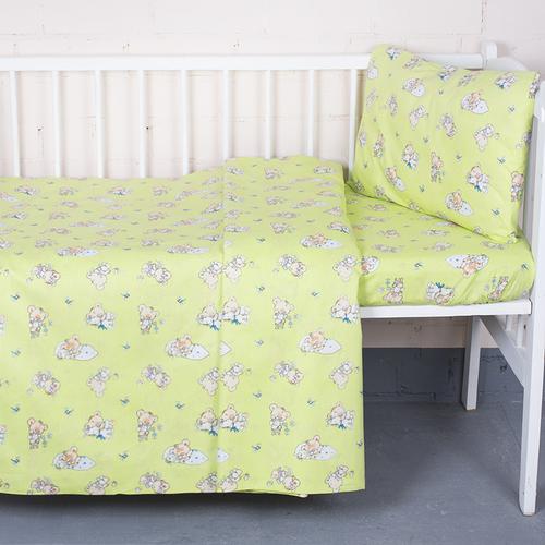 Постельное белье в детскую кроватку из поплина 1841/4 с простыней на резинке фото 1