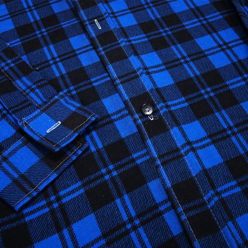 Рубашка мужская фланель клетка 48-50 цвет синий модель 1 фото 3