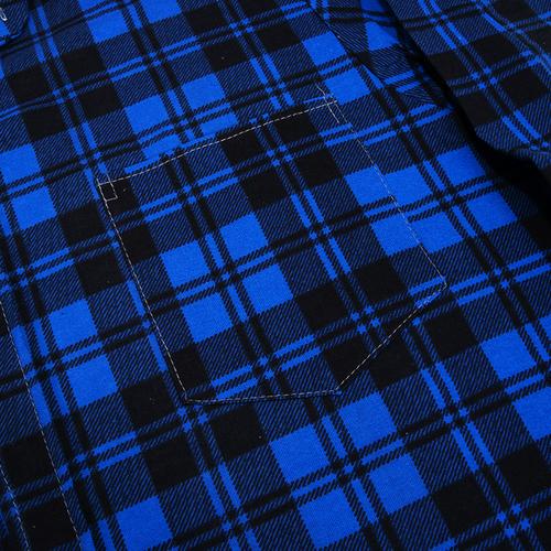 Рубашка мужская фланель клетка 48-50 цвет синий модель 1 фото 2