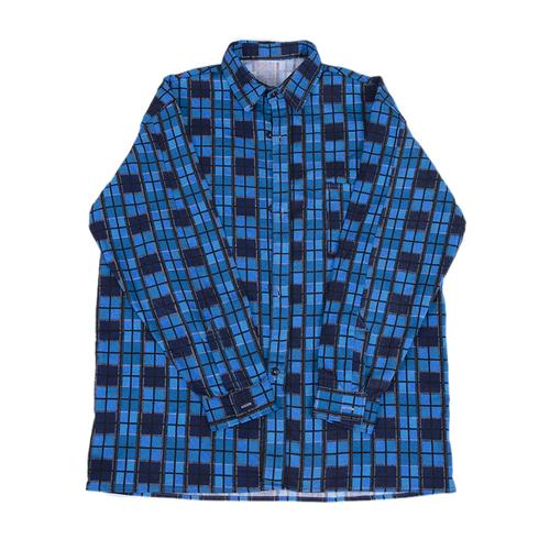 Рубашка мужская фланель клетка 44-46 цвет синий модель 2 фото 1