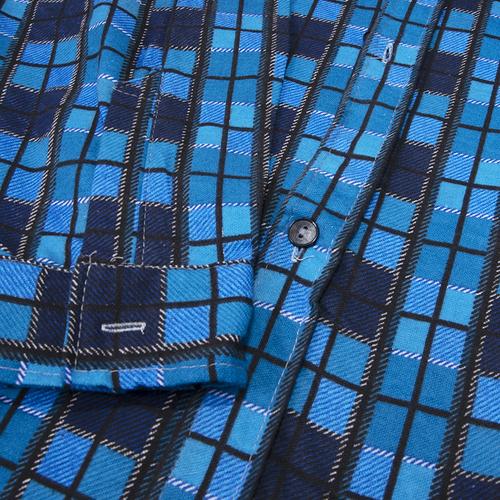 Рубашка мужская фланель клетка 44-46 цвет синий модель 2 фото 2