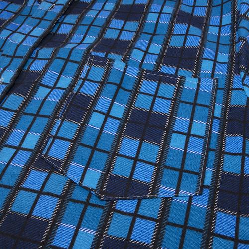 Рубашка мужская фланель клетка 60-62 цвет синий модель 2 фото 2
