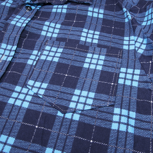 Рубашка мужская фланель клетка 60-62 цвет синий модель 3 фото 2