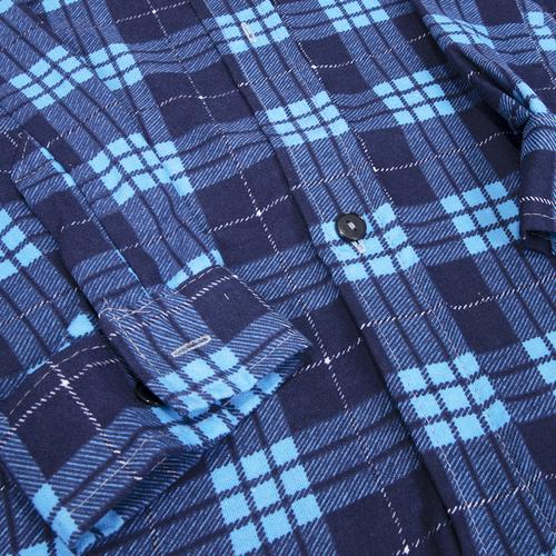 Рубашка мужская фланель клетка 60-62 цвет синий модель 3 фото 3