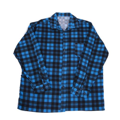 Рубашка мужская фланель клетка 60-62 цвет синий модель 4 фото 1