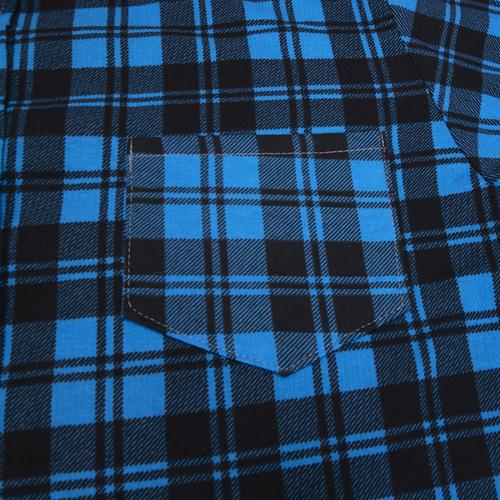 Рубашка мужская фланель клетка 60-62 цвет синий модель 4 фото 3