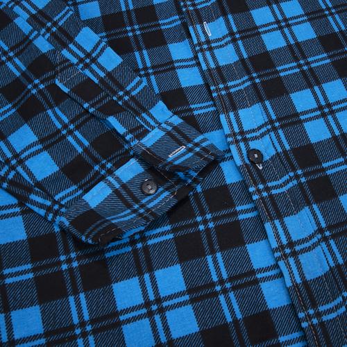 Рубашка мужская фланель клетка 60-62 цвет синий модель 4 фото 2