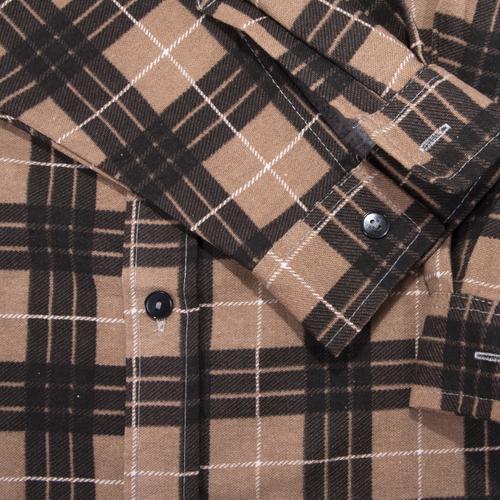 Рубашка мужская фланель клетка 52-54 цвет коричневый модель 1 фото 3
