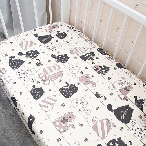 Простыня на резинке бязь детская 7206/8 Коты цвет бежевый 90/180/15 см фото 3