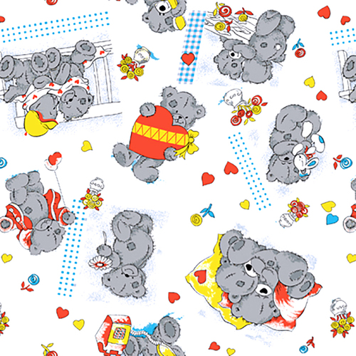 Ткань на отрез бязь 120 гр/м2 детская 150 см 0543/5 Мишки Тедди фото 1