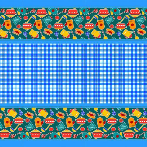 Вафельное полотно набивное 150 см 431/1 Кухня цвет синий фото 1