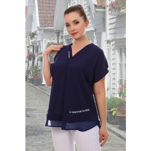 Блуза 6707 синяя р 50 фото 1