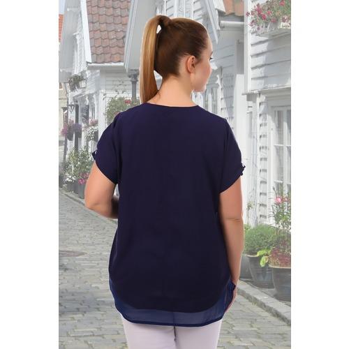 Блуза 6707 синяя р 50 фото 4