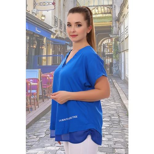 Блуза 6707 синяя р 50 фото 3