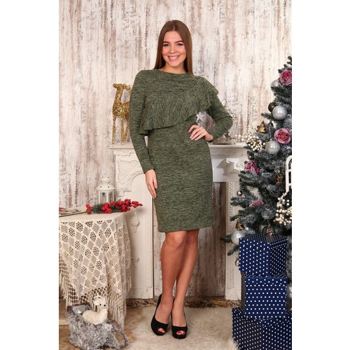Платье Клавдия волан зеленое Д481 р 48 фото 1