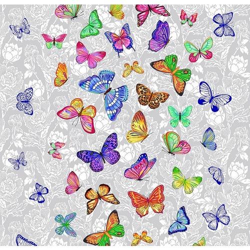 Ткань на отрез вафельное полотно 50 см 170 гр/м2 5634/1 Бабочки фото 1