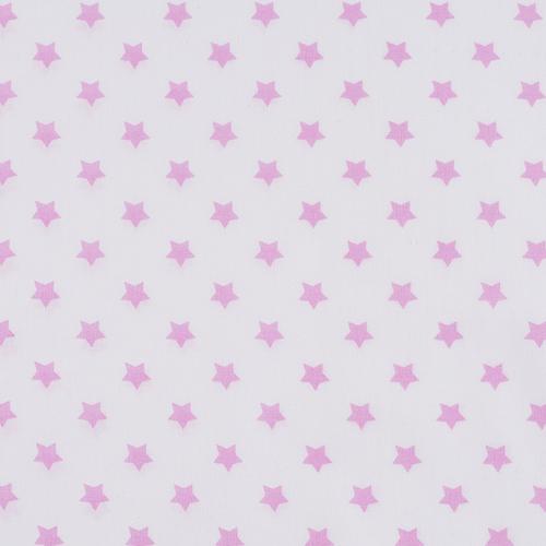 Ткань на отрез поплин 150 см 390А/2 Звездочки цвет розовый фото 1