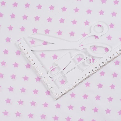 Ткань на отрез поплин 150 см 390А/2 Звездочки цвет розовый фото 2