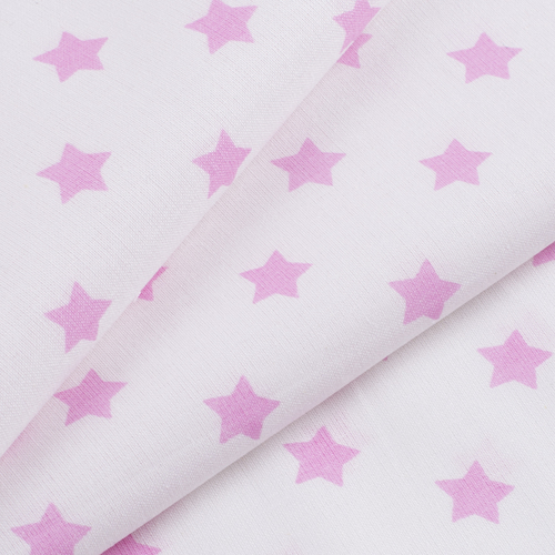 Ткань на отрез поплин 150 см 390А/2 Звездочки цвет розовый фото 3