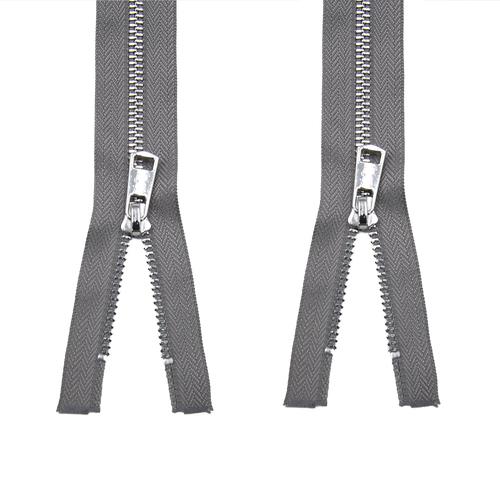 Молния металл №5ТТ никель два замка 75см D323 темно серый фото 1