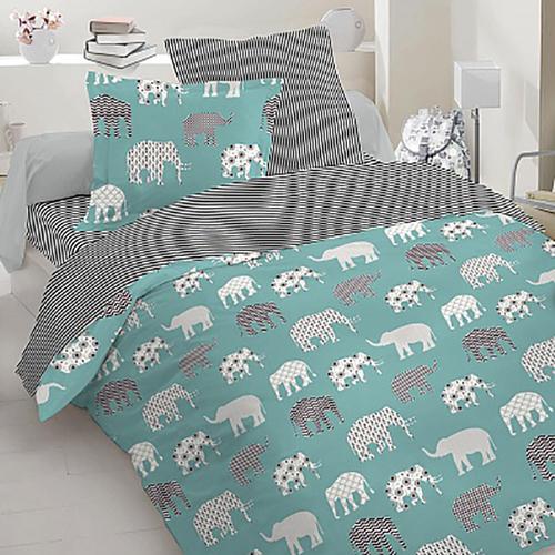 Простынь бязь детская 8118/1 Слоны цвет зеленый 110/150 см фото 1
