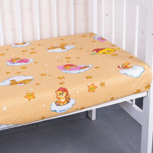 Простыня на резинке бязь детская 4098/1 Облачко цвет желтый 60/120/12 см фото 1