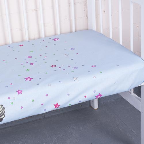 Простыня на резинке бязь детская 7347/2 Мишутка цвет голубой 90/200/20 см фото 1