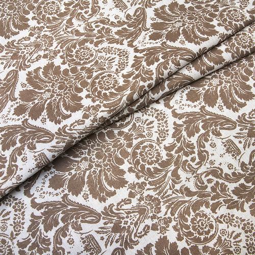 Ткань на отрез поплин 220 см 115 г/м2 391А/18 Дамаск цвет кофе фото 1