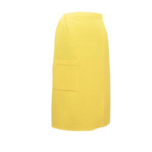 Вафельная накидка на резинке для бани и сауны Премиум женская 80 см цвет 257 желтый фото 1
