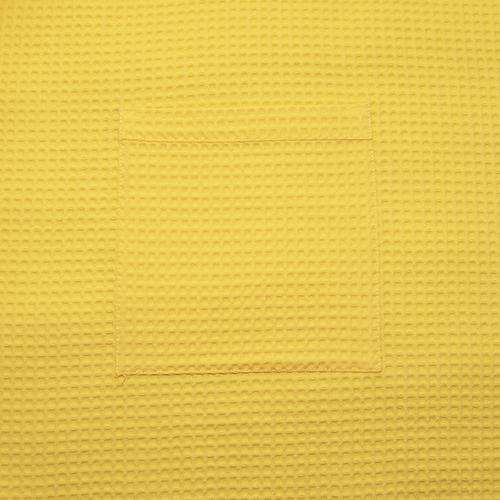 Вафельная накидка на резинке для бани и сауны Премиум женская 80 см цвет 257 желтый фото 5