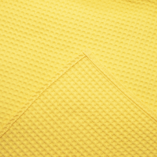 Вафельная накидка на резинке для бани и сауны Премиум женская 80 см цвет 257 желтый фото 4