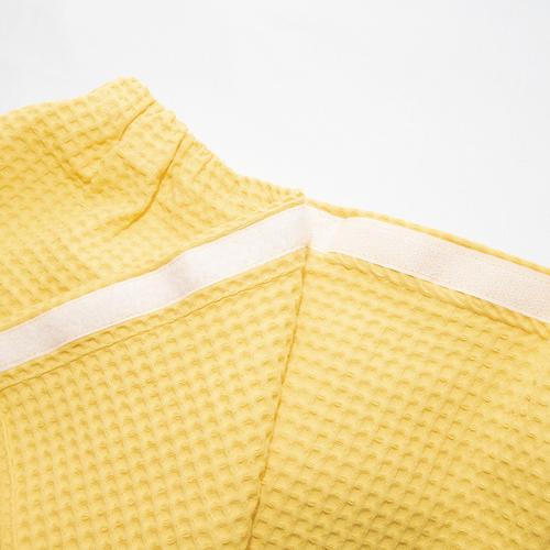 Вафельная накидка на резинке для бани и сауны Премиум женская 80 см цвет 257 желтый фото 3