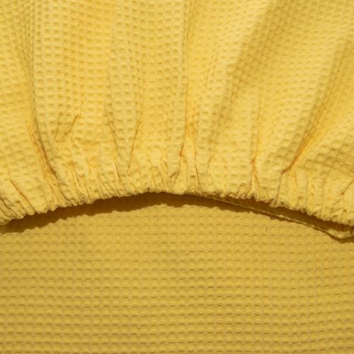 Вафельная накидка на резинке для бани и сауны Премиум женская 80 см цвет 257 желтый фото 2